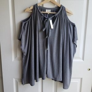 NWT Deletta Gray Oversized Tulay Top Size XS/S